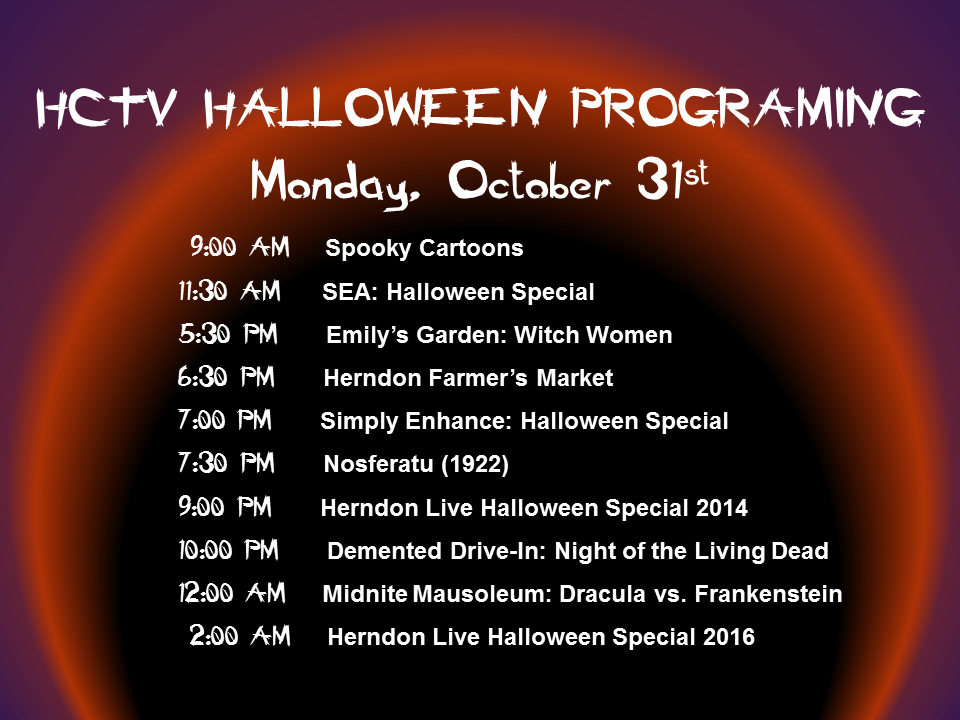 HCTV Halloween Schedule